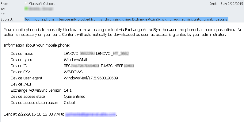 Unblock phone or device from synchronizing using Exchange