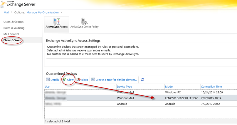 Unblock phone or device from synchronizing using Exchange ActiveSync -