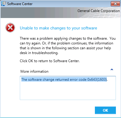 The software change returned error code 1603 -